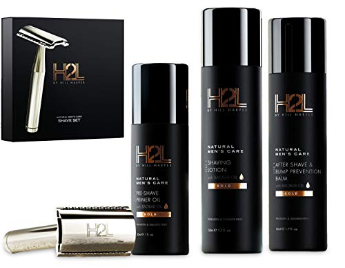 H2L Complete Wet Shaving Kit For Men | Includes High-End Razor & 5 Blades, Pre-Shave Primer Oil, Shaving Lotion, After Shave Bump Prevention Balm (5 pieces in gift set) | By Hill Harper