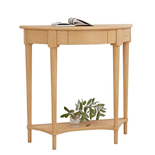OuPai Table Console Table,Solid Wood 2 Tier Entrance Table Semicircle Side Cabinet Decoration Table Side Table 34 × 12 × 32 Inch for Living Room Bedroom (Color : Wood)