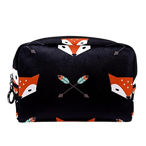 Bolsa de maquillaje de viaje con flechas y zorro de 17,3 x 7,5 x 5,1 cm, bolsa de maquillaje para mujeres y niñas, bolsa de aseo portátil