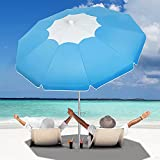 Beach Umbrella with Sand Anchor, Outdoor Portable Beach Umbrella for Sand with Adjustable Tilt Aluminum Pole,6.5ft Travel Wind Resisitance Umbrella with Carry Bag for Beach Patio Outside Picnic