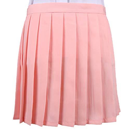 Mxssi Frauen Cosplay Faltenrock Mädchen Schuluniform Rock Solide Hohe Taille Rock Miniröcke