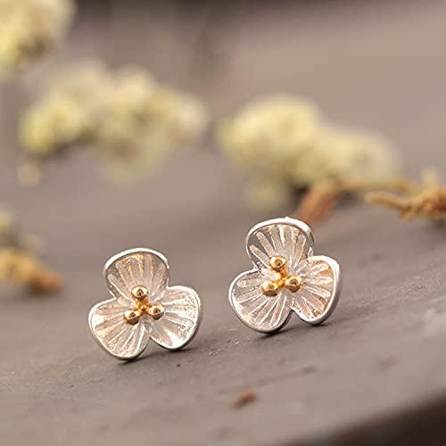 sis-woner Pendientes de botón de jazmín de Moda de Plata925Pendientes de niña Dulce de Dos Tonos con Tres pétalos de Flores
