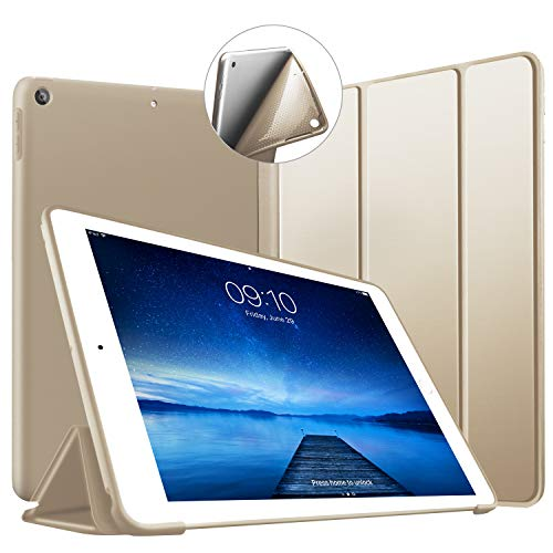 VAGHVEO Funda iPad 9.7' 2018/2017, Cubierta Estuche Plegable [ Auto-Sueño/Estela ] Carcasa TPU Suave Smart Cover para Apple iPad 5ª / 6ª Generacion (A1893 / A1954 / A1822 / A1823), Oro