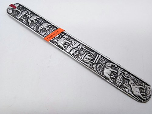 WitnyStore Carved Elephant Bookmark Aluminium & Wood Craft Handmade Accessory Collectibles