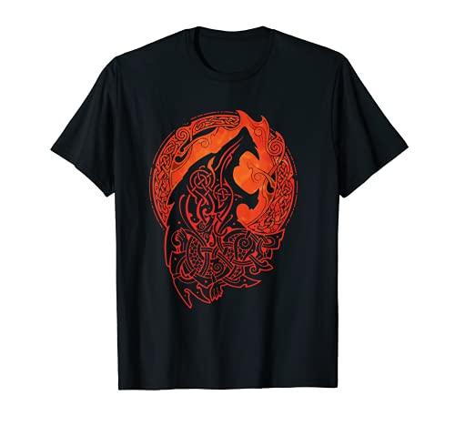 Vintage-Vikings celtic mythology fenrir Wolf runes symbolism T-Shirt