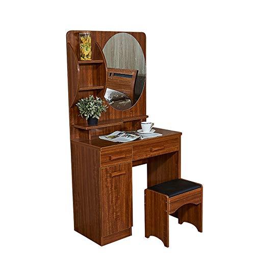 Zhicaikeji Coiffeuse Idéal for Une Utilisation à Long Terme des Tables et des tabourets compacts Classiques avec des commodes en Bois Massif (Color : Brown, Size : 80 * 40 * 155cm)