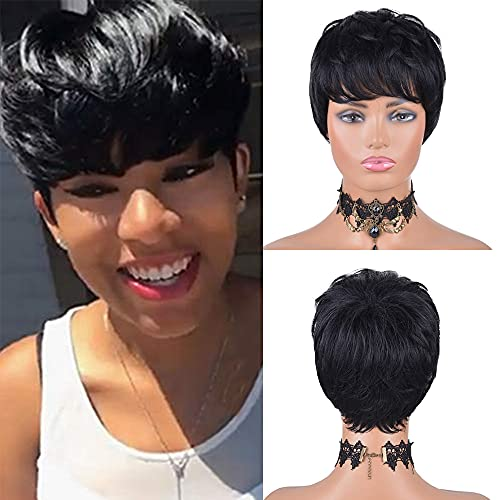 Usexy Short Human Hair Wigs Pixie Cut Wigs for Black Women Wigs with Bangs Short Black Layered Wavy Short Wigs for Black Women 1# Color