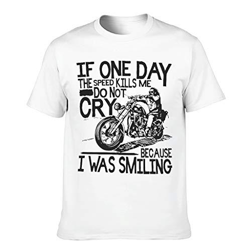 Camiseta de algodón para hombre con diseño de motociclistas, con texto en inglés 'If One Day The Speed Kills Me Cool