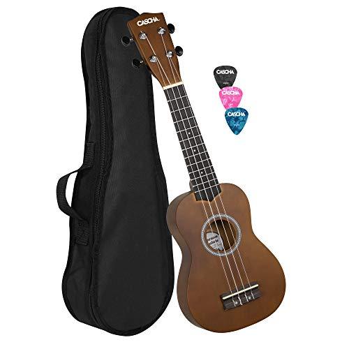 Cascha Soprano Ukulele Bundle with Bag, 3 Picks and Aquila Strings, Marrone