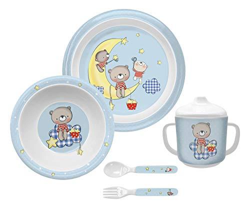 Bieco Baby Geschirrset mit Bären| 5-teiliges Baby Geschirr | Kindergeschirr aus Melamin | Geschirr Baby  für Kleinkinder | Baby Essen Set | Babygeschirr Set | blau