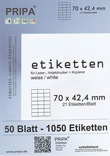 pripa Etikettenformat 70 x 42,4 mm 50 Blatt DIN A4 Selbstklebende Etiketten (50)