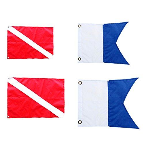 SaniMomo 4 Piezas Diver Down Flag Safety First Aid Symbol Marker Banner Banderas De Cabina De Barco para Buceo