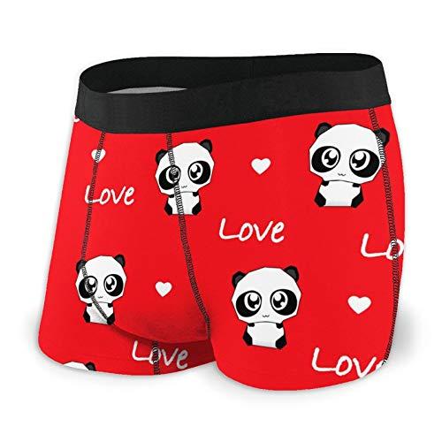 Antokos Herren-Boxershorts, enganliegend, Panda und Love am Valentinstag, schnelltrocknende Unterwäsche Gr. M, Schwarz