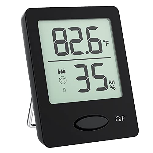 Humidity Gauge,Room Thermometer Hygrometer,Mini Size Indoor Thermometer with Air Comfort Indicator, Digital Hygrometer Monitor with Humidity Trendline for Home,Baby Room,Office,Black