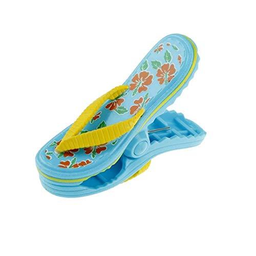 LLAAIT Forma Flamenco Clavija de Ropa de plástico Grande Sun Bed Ocioso Titular de la Piscina del edredón del calcetín s Toalla s Beach Zapatilla, Azul