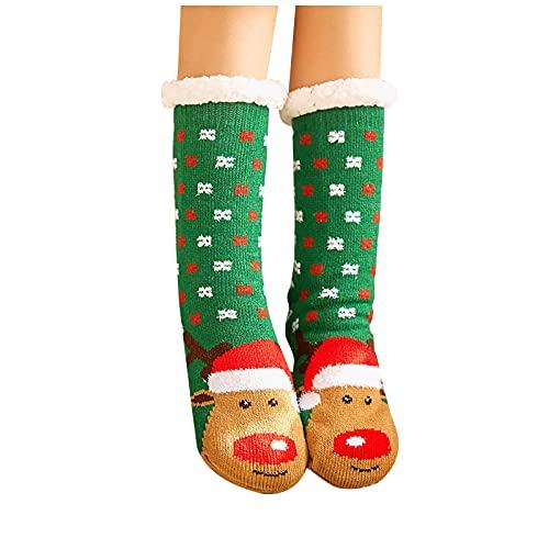 ADFRTGH Socks for Women Winter, Womens Christmas Women Cotton Socks Print Thicker Anti-Slip Floor Socks Carpet Socks