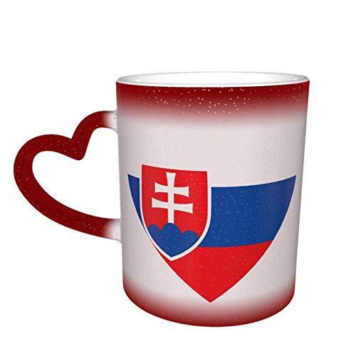 Hdadwy Bandera de Eslovaquia Taza de cielo estrellado que cambia de color del corazón Taza mágica de café en forma de corazón