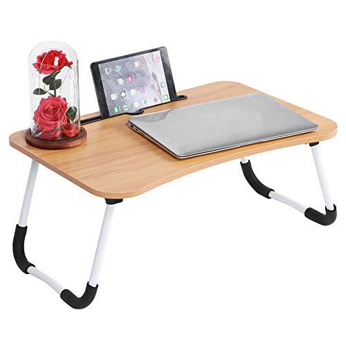 AYNEFY Bett Laptop Tisch Notebooktisch Klappbar Lapdesk Kleine Schreibtisch Faltbarer Betttablett mit Anti-Rutsch Streifen Klapptisch für Frühstücken Lesen Filmen auf Bett Sofa, 60 x 40 x 26 cm
