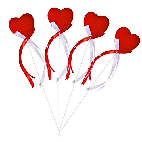 LCDG 4 Cuore con Nastri Rossi e Bianchi - Ideale per la Decorazione di Matrimonio, San Valentino, Torta