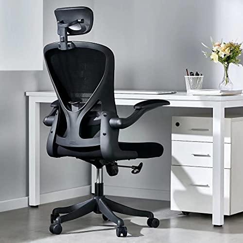 Moppson Ergonomic Office Chair, High Back Mesh Desk Chair with Adjustable Headsrest, Rolling Swivel Home Office Desk Chairs with Flip-Up Armrest, Tilt Function, Lumbar Support, Soft Thick Seat Cushion
