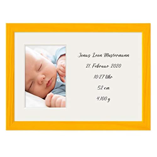 PHOTOLINI Collage-Bilderrahmen 21x30 cm/DIN A4 Gelb mit Passepartout für 1 Bild 10x15 cm inkl. Fläche zum Selbst-Gestalten | Collagerahmen mit Acrylglas