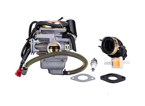 Hity Motor PD24J Carburetor for 4- Stroke GY6 125cc 150cc 152QMI 157QMJ Engine Scooter ATV Go Kart Kazuma Baja Kymco Taotao SunL Tank with Fuel Filter Spark Plug Intake Manifold and Adjusting Shims