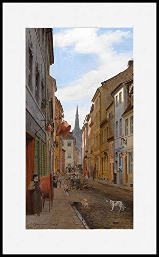 Könighaus Infrarotheizung – Kunstwerke/Gemälde mit Passepartout – TÜV/GS - 1000 Watt - Schwarzer Rahmen (40. Eduard Gaertner_ Parochialstrasse in Berlin)