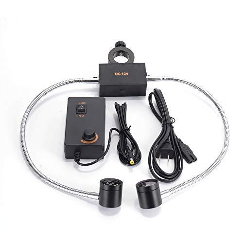 HAYEAR Microscope Sidelight Dual Gooseneck Lights 12 Bulb LED Twin Illuminator Lamp