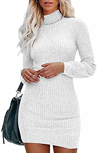 Gemijacka Pullover Damen Rollkragen Strickkleid Talliert Langarm Pulloverkleid Einteilige Sexy Minikleid für Herbst Winter Weiß S