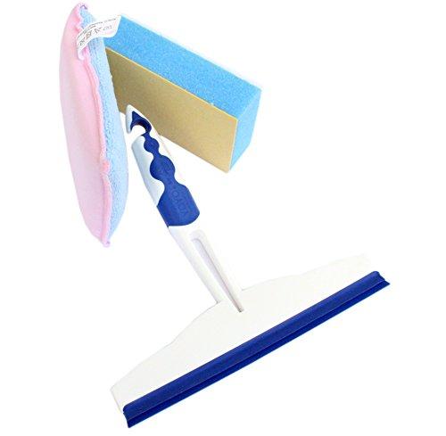 Unbekannt YOYO 3 TLG. Reinigungs-Set für alle Glasflächen 1xAbzieher 2X Schwamm zum reinigen und polieren