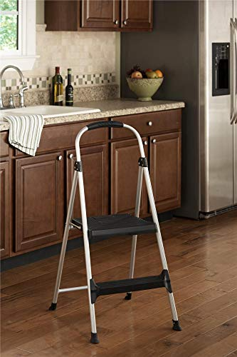 Cosco Signature Step Stool Two-Step Aluminum Step Stool with Plastic Steps