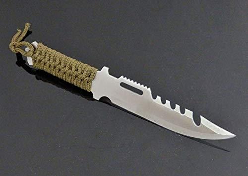 KOSxBO® Survival mes met schede - Groen Olive - tactisch mes met paracord greep - vast lemmet
