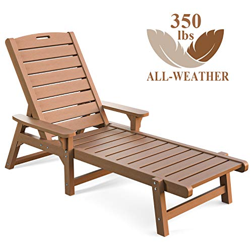 OT QOMOTOP All Weather Poly Lumber Outdoor Arms Chaise Lounge, 5 Adjustable Backrests Reclining Lounge Chair, Nautical Chaise Lounge for Patio, Beach, Yard, Pool