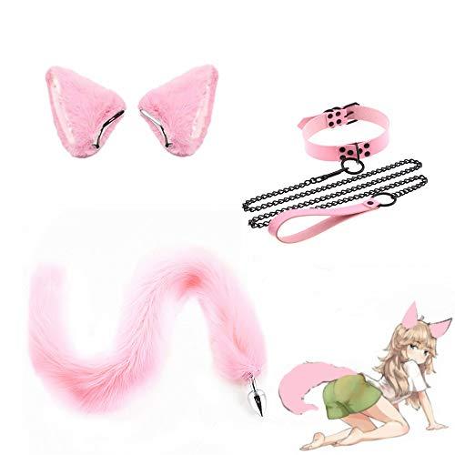 3 Piezas, Collar de Cadena de traccin de Cuero y Diadema con Orejas de Gato Rosa - Cosplay de Felpa B--t-t P-l--g Juguetes de Fiesta de Halloween de Cola Larga - M
