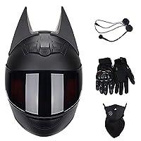 キャットイヤーライダーBluetoothヘルメットユニセックス、マスク+グローブ付きフリップバイザークロスカントリーモーターサイクルレース衝突防止フルフェイスヘルメットDOT認定