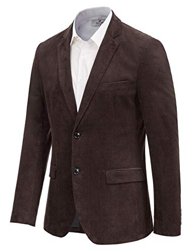 Men's Corduroy Casual Sport Coat Jacket Slim Fit 2 Button Blazer Coffee, Small