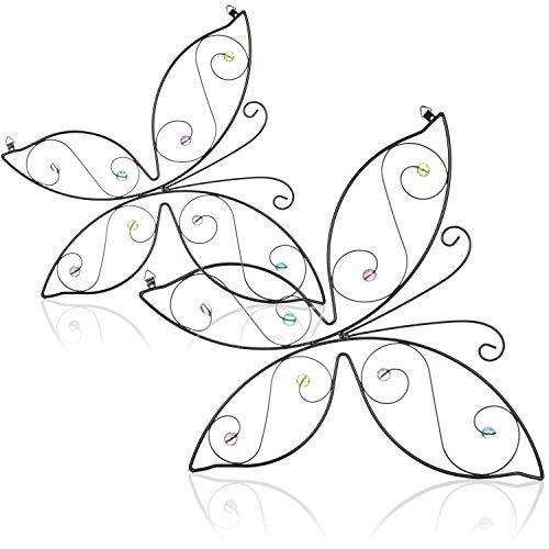 com-four® 2X Wanddeko Schmetterling aus pulverbeschichteten Stahl, mit Steinen verziert (Wanddeko 2 Stück - Schmetterling)