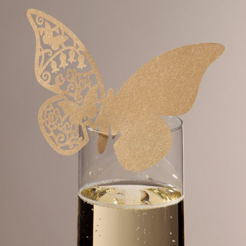 Patty Wedding Table Paper Place Card Escort Name Card Wine Glass Card for Wedding Party Decoration-50 Pcs (Butterfly Gold)