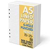 A5 Lined Paper 6-Hole Punched, 500 Sheets (1,000 Pages), 100 GSM, A5 Binder Refill