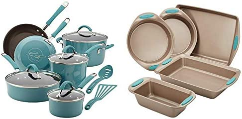 Rachael Ray Cucina Nonstick Cookware Pots and Pans Set 12 Piece Agave Blue Cucina Nonstick Bakeware product image