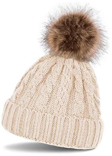 styleBREAKER Zopfmuster Bommelmütze, Strickmütze mit Fellbommel, Winter Beanie Mütze, Unisex 04024064, Farbe:Beige