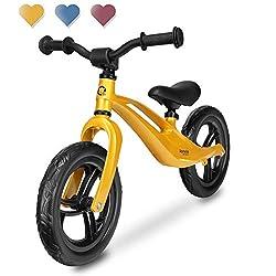 Lionelo Bart Laufrad ab 2 Jahre bis zu 30 kg Magnesiumrahmen 12 Zoll Räder Lenkrad und Sattel höhenverstellbar Lenkradschloss Fußstütze Tragegriff Ultraleicht (Gold)