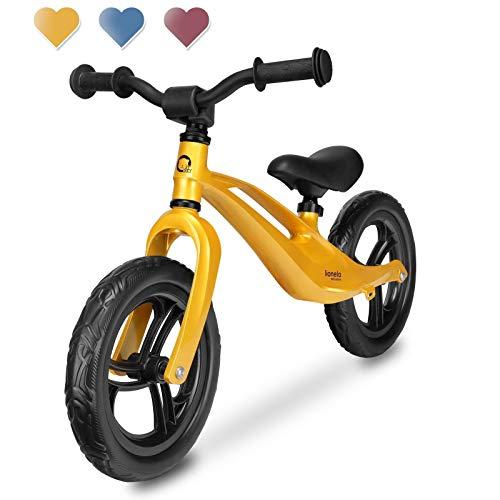 Lionelo Bart Laufrad Balance Bike ab 18 Monaten bis zu 30 kg Magnesiumrahmen wartungsfreie 12 Zoll Eva Räder Lenkrad und Sattel höhenverstellbar Fußstütze (Gold)