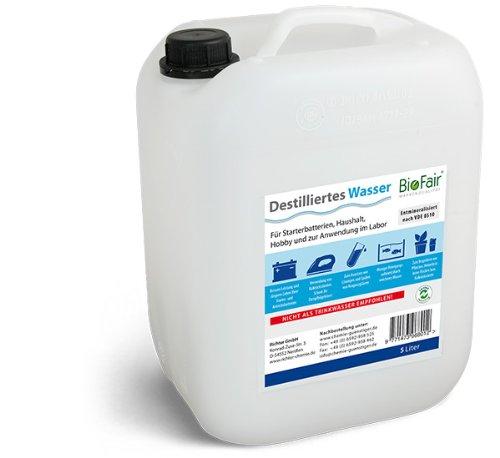 BioFair® Agua desmineralizada (10 litros) de Acuerdo con VDE 0510-1 x 10 l Agua Destilada