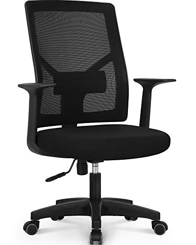 NEO CHAIR Office Chair Computer Desk Chair - Bulk Business Ergonomic Mid Back Cushion Lumbar Support Wheels Comfortable Mesh Racing Seat Adjustable Swivel Rolling Executive, Black-B
