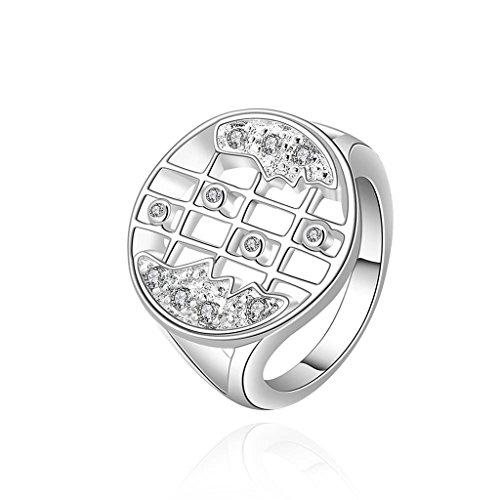 AMDXD Schmuck Vergoldet Damen Ringe (Eheringe) Silber-Keks-Form Weiß Gr.57 (18.1)