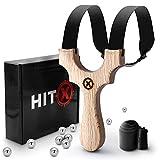 HITX Zwille Steinschleuder Profi für Jagd - Slingshot Schleuder für Jede Handgröße - Katapult mit starkem Gummiband - Schleuder Zwille mit 100 Stahlkugeln und Bundle Set