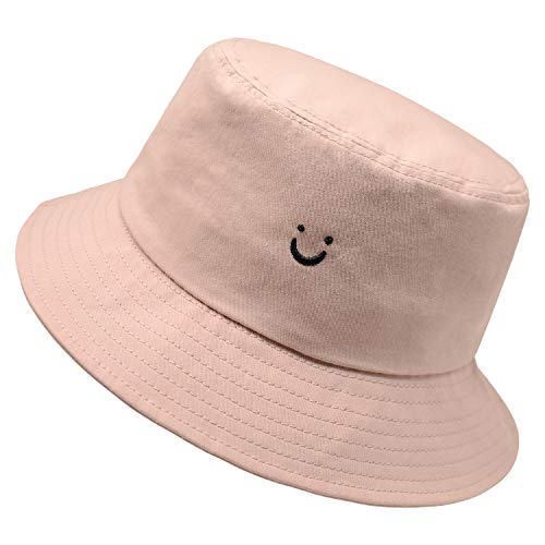 Smile Face Hat Summer Travel Bucket Beach Sun Hat Night Call Embroidery Visor Outdoor Cap (Pink
