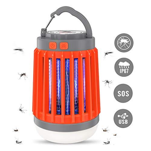 Aerb Lampada Antizanzare 3-in-1 con LED UV, 5 modalità Luce, Repellente Zanzare da Campeggio con Cavo USB, Gancio, Spazzola, Lanterna Zanzariera Elettrica da Esterno Portatile, IP67 Impermeabile