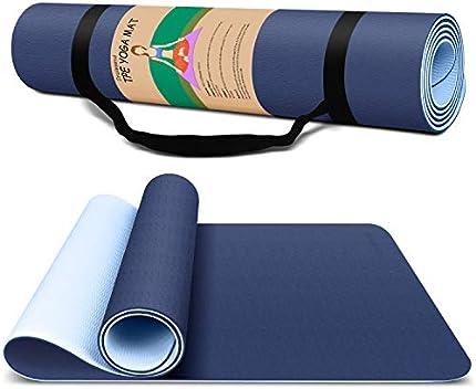 Esterilla de yoga para ejercicios de fitness, de alta densidad, antideslizante, para yoga, pilates y ejercicios, antidesgarros, sudor, a prueba de golpes, clásico de 1/4 pulgadas